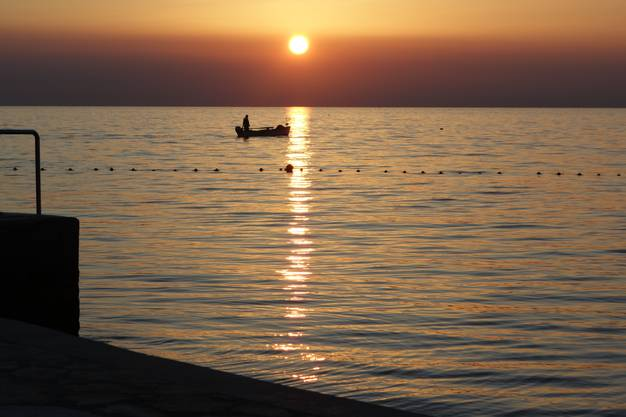 Sonnenuntergang am Meer bei Umag Kroatien