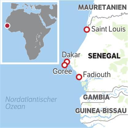 Senegal liegt zwischen Mauretanien und Gambia.