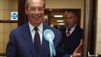 Nigel farage hat gut lachen: Seine Brexit-Partei liegt bei der Europawahl in Grossbritannien in Führung.