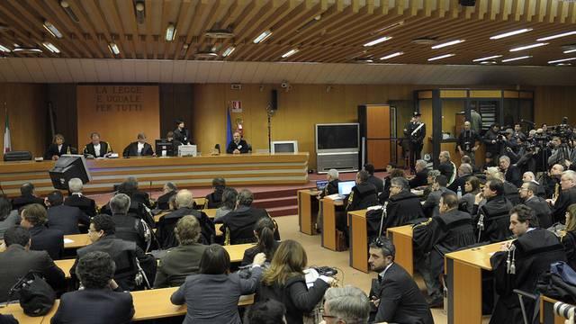 Blick in den Gerichtssaal in Turin