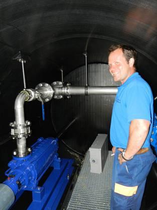Brunnenmeister Simon Adam im Zwischenpunpwerk Nesselboden