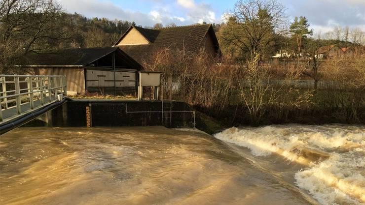 Sissle Eiken, April 2018: Braun wälzt sich das Hochwasser im Bachbett.