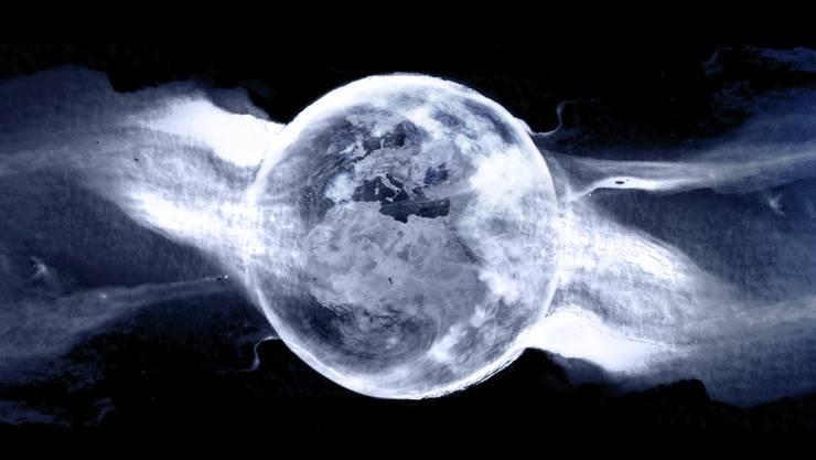 Die CO2-Emissionen der Welt müssen sinken. Helfen könnte CO2-Abscheidung. Forschende stellen dafür ein vielversprechendes neues Materialdesign vor. (Illustration Erde und Rauchschwaden.)