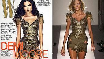 Das polnische Model Anja Rubik (rechts) soll der Körper sein, mit dem Demi Moore (links) glänzt. Der britischen Zeitung «Daily Mail» fiel auf, dass Demi Opfer eines übereifrigen Bildbearbeiters wurde. Der hat die linke Hüfte ruiniert, die ist ein paar Zentimeter schmaler im Vergleich zum Bein.