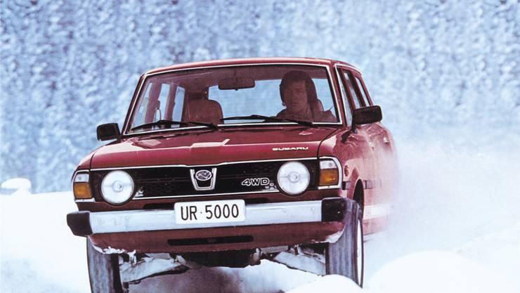 Russi im Subaru Leone 1600 4WD. Die Nummer UR 5000 fährt er heute noch an seinem Forester.