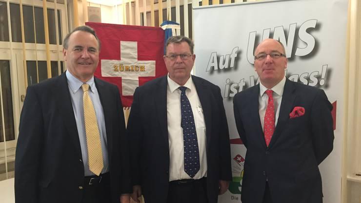 (v.l.n.r.) Hanspeter Konrad, NR Toni Bortoluzzi, Markus Binder