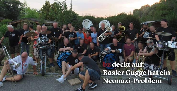 Mehrere Mitglieder der Gugge tragen die T-Shirts mit dem Neonazi-Waggis