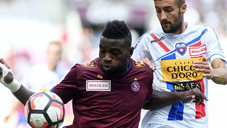 Jean-Pierre Nsamé (hier im Match gegen Chiasso) trumpft bei Servette mit Toren auf