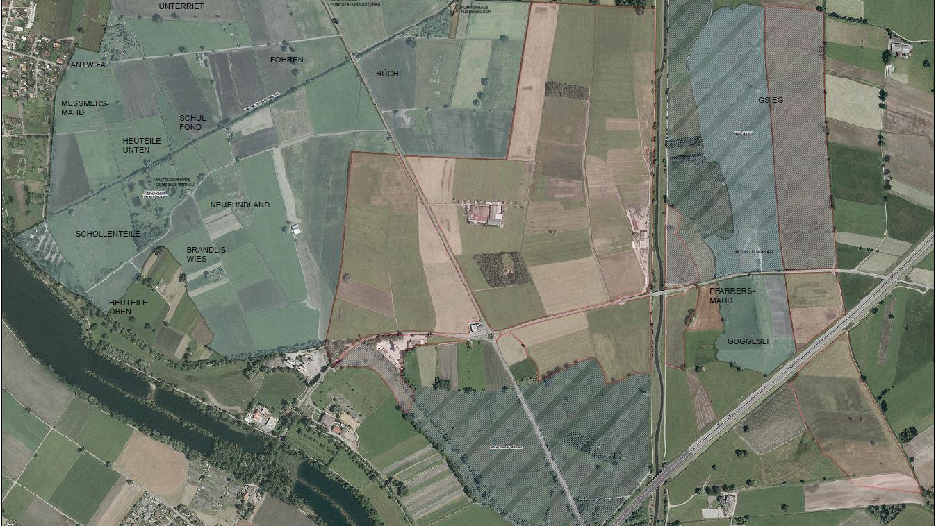 Das Schweizer Ried im Massstab 1:2500. Die Anteile der Ortsgemeinde Widnau sind blau markiert, die Anteile der Ortsgemeinde Schmitter rot.