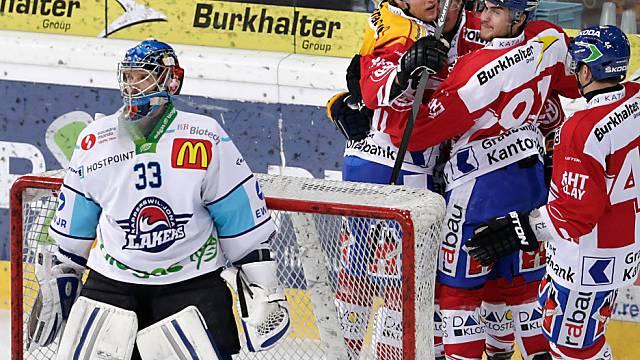 Der geschlagene Rapperswiler Goalie David Aebischer.