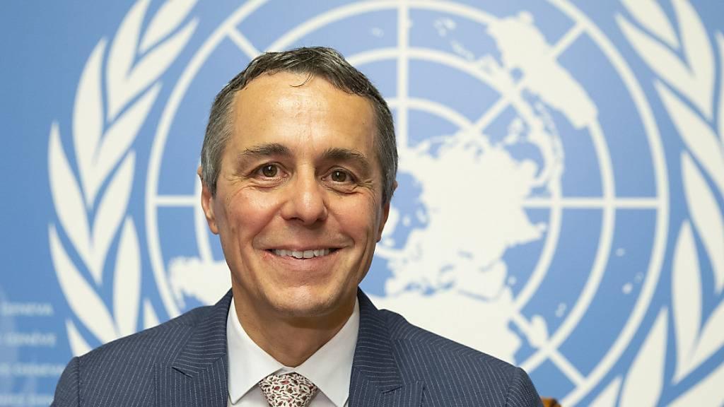 Aussenminister Ignazio Cassis bei einem Anlass am Sitz der Uno in Genf. (Archivbild)