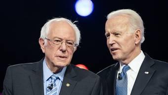 Die beiden demokratischen Präsidentschaftskandidaten Joe Biden und Bernie Sanders streiten sich weiter – allerdings ohne Publikum.