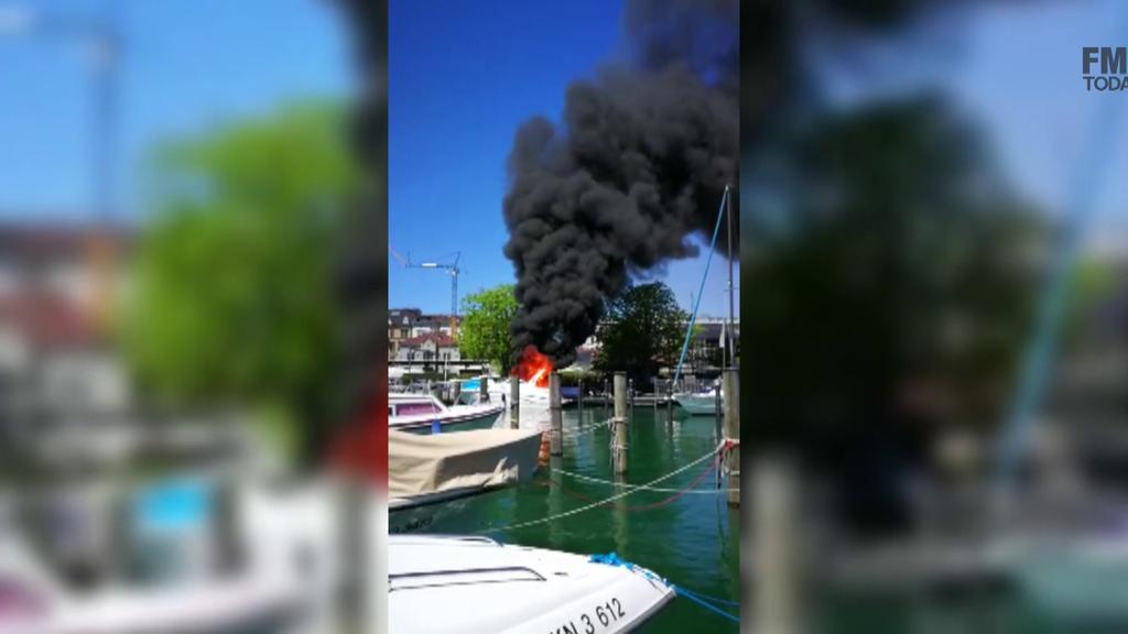 Motorjacht explodiert in Konstanzer Hafen