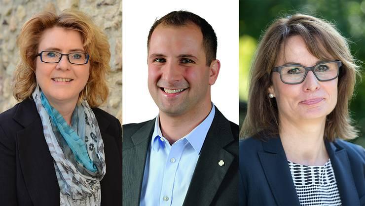 Corinne Jakob Egger (Initiative 5436), Pascal Pfeffer (SVP) und Barbara Gerster Rytz (CVP), von links, kandidieren neu für den Gemeinderat.