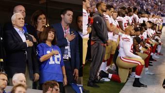 US-Footballspieler knien während Hymne – Trump-Vize Pence verlässt Stadion