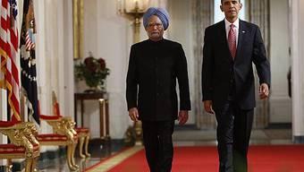 Gemeinsam für eine bessere Zukunft: Barack Obama (r) und Manmohan Singh