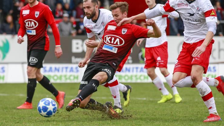 Nicolas Bürgy beim Abschluss zu seinem 1:0 gegen Winterthur.