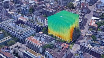 Visualisierung einer digitalen Datenanalyse des Start-ups Archilyse: Wo im Gebäude der Blick auf umliegende Bäume fällt (Hochhaus zur Palme, Zürich).