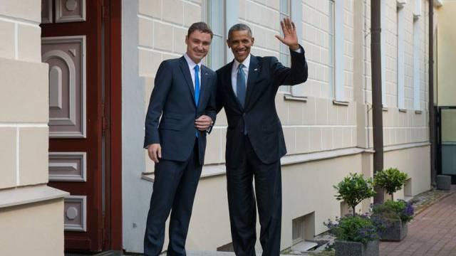 Obama besuchte vor dem NATO-Gipfel Estlands Premier Taavi Roivas