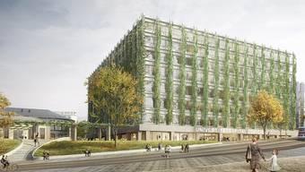 Eines der neuen Gebäude auf dem Zürcher Hochschulcampus soll rundum begrünt werden.