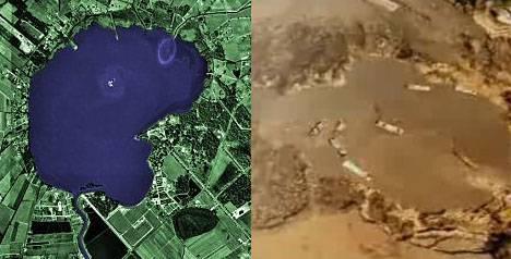 Vor dem Disaster (links) und während (rechts): Der Wasserstand sinkt.