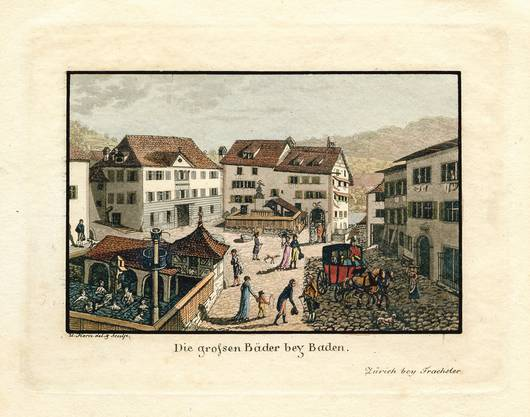 Der Badener Kurplatz im Jahr 1812.