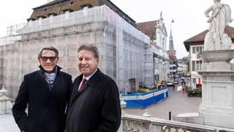 Sie stehen für die Swiss Prime Anlagestiftung hinter dem Umbauprojekt der «Krone»: Thomas Grossenbacher und Markus Graf.