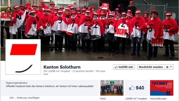 Auch Solothurn, der Kanton «mit hoher Lebensqualität», ist auf Facebook vertreten.