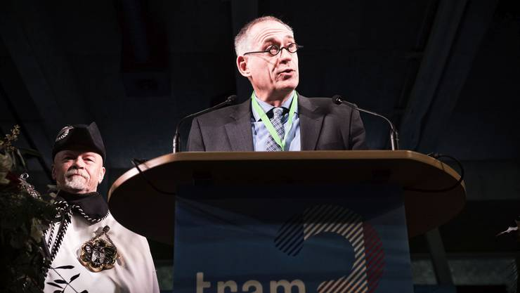Hans-Peter Wessels bei der Einweihung der 3er-Tramverlängerung 2017.