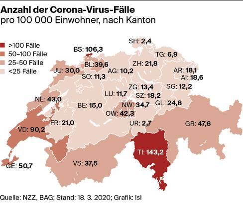 Anzahl der Corona-Virus-Fälle nach Kanton, Stand 18. März 2020