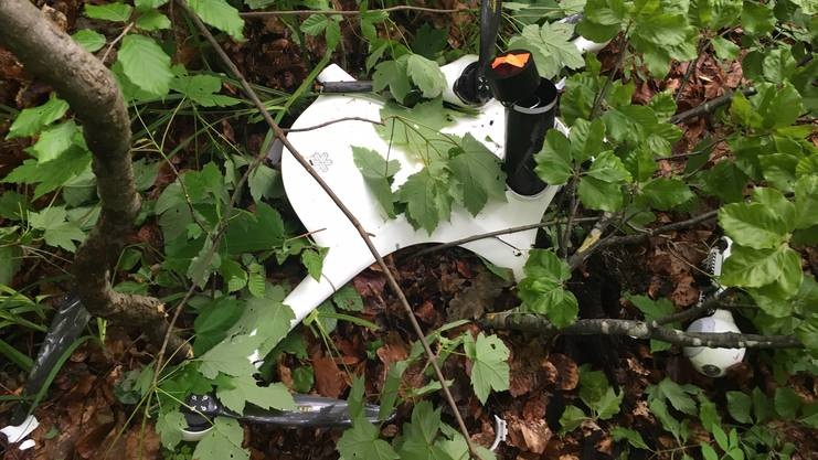 Die Post-Drohne an der Absturzstelle in einem Waldstück oberhalb des Letziwegs.