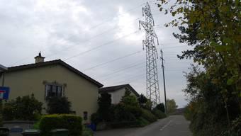 Auch im Falle des Ehepaars ist die Stromleitung sehr nahe am Wohnhaus. Im Bild: Strommasten in Niederwil.