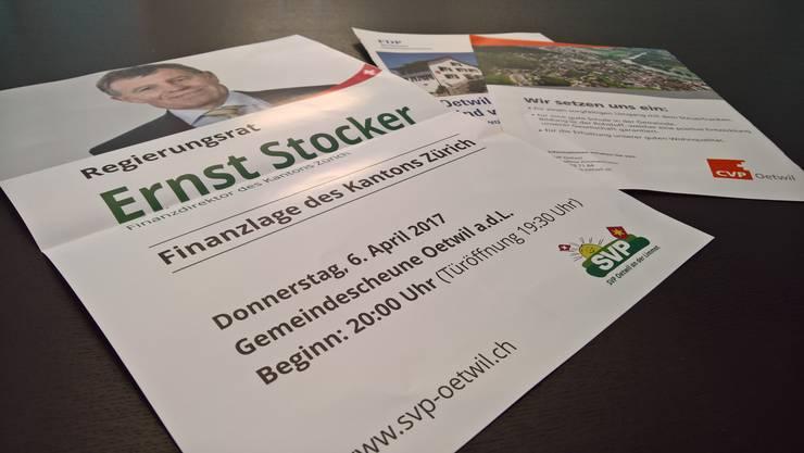 Sie konnte mit einem A3-Inserat für den hohen Besuch des Regierungsrats werben, während sich FDP und CVP mit dem A4-Format begnügen mussten. Die Druckerei hat sich mit einem Brief auf der Gemeinde-Website entschuldigt.