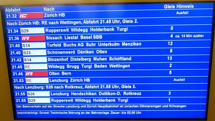 Im SBB-Feierabendverkehr kam es zu Verspätungen.