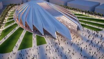 Erinnert an einen fliegenden Falken: Der Pavillon, den Santiago Calatrava in Dubai bauen wird.