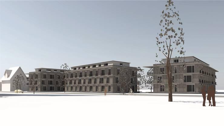 Die Visualisierung zeigt die mögliche Ansicht der Bauten für das Projekt «Linde». Hier sind unter anderem Alterswohnungen geplant.