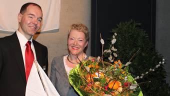 Der neu gewählte Präsident Patrik Schneider und seine Vorgängerin Ursula Gauch. ZVG