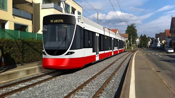Visualisierung der möglichen neuen Tramzüge für die Waldenburgerbahn. Modell basiert auf dem Tango-Tram von Stadler, mit dem die BLT bereits unterwegs ist. Symbolbild Stadler Rail, Appenzellerbahn.