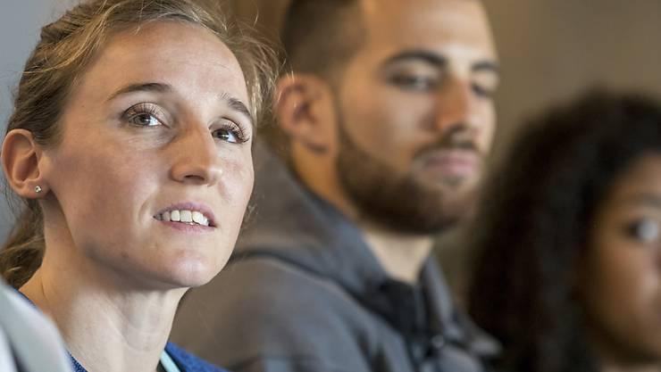 Nicole Büchler anlässlich der Präsentation von Spitzenleichtathletik Luzern