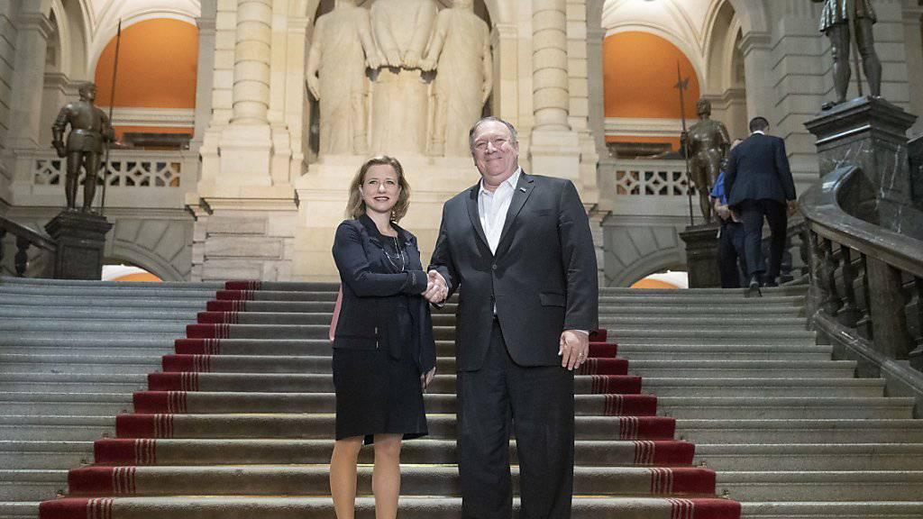 Grosse Ehre für Christa Markwalder: Die Präsidentin der parlamentarischen Gruppe Schweiz-USA führte am Samstag US-Aussenminister Mike Pompeo durchs Bundeshaus.