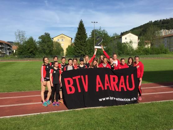 Die Frauen des BTV Aaraus freuen sich über den zweiten Rang in der NLB.