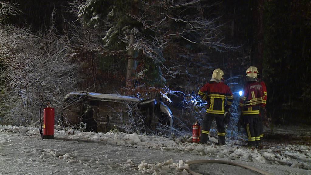 Dörflingen (SH): Autofahrerin im Schneegestöber von Strasse abgekommen