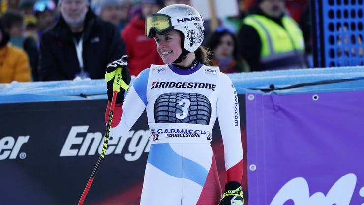 Corinne Suter: «Ich kam mit hohem Tempo und bin sehr weit gesprungen. Da erschrak ich schon.»