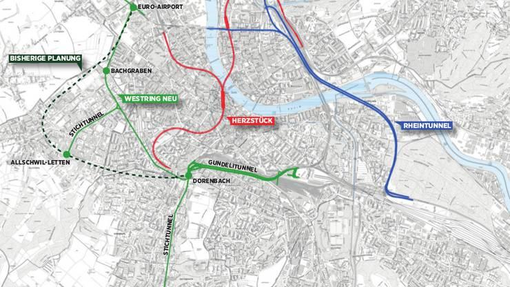 Neben Rheintunnel (blau) und Bahn-Herzstück (rot) planen die beiden Basel gemeinsam mit dem bereits an einem dritten Grossprojekt: Entgegen früheren Plänen (grün, gestrichelt) könnte ein unterirdischer Westring nun plötzlich auf Stadtboden entstehen (grün). Grafik/Micha Wernli