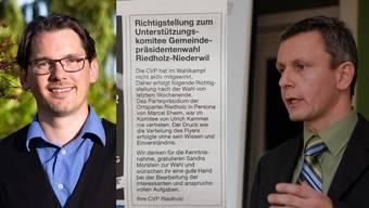 Die CVP Riedholz stellt in einem Azeiger-Inserat klar: Ortsparteipräsident Marcel Eheim (rechts) war nie im Komitee von Ulrich Kammer.