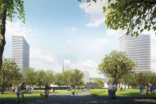 Ein Blick über den Stadtpark zeigt seitlich die künftig höchsten Hochhäuser im Aargau. Der Zentrumsschopf in der Mitte bleibt erhalten. Visualisierung/zvg