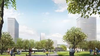 Der Blick über den geplanten Stadtpark mit den beiden Hochhäusern links und rechts. Das Erscheinungsbild der Hochhäuser ist noch offen. Der Zentrumsschopf in der Mitte bleibt bestehen. Visualisierung/ZVG