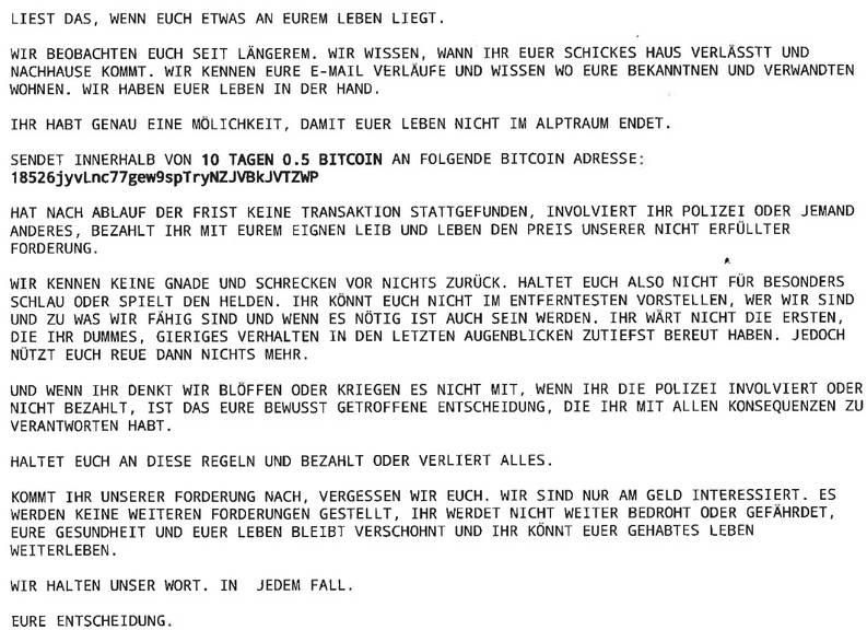 Diesen Brief hatten mehrere Menschen in der Zentralschweiz im Briefkasten.