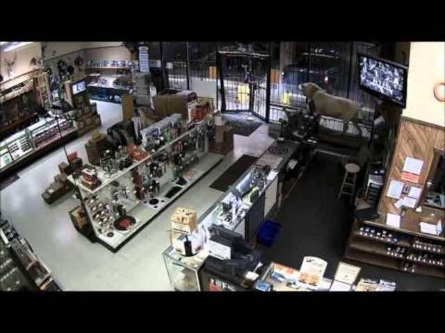 Das zweite Video zeigt die Einbruchsszene von Innnen. Und die die Männer danach das Geschäft stürmen.