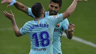 Die Barcelona-Torschützen im Jubel-Duett: Jordi Alba und Luis Suarez